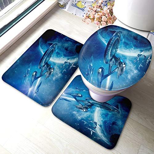 SJPillowcover Star Trek Lot de 3 tapis de salle de bain doux antidérapants absorbants et housse de tapis de salle de bain en forme de U