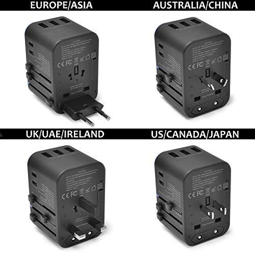 World International Travel Plug Adapter by Ceptics - Powerful 33.5W with Pd & QC 3.0 Dual USB-C Power - 3 USB Ports Wall Charger Type I C G A Outlets 110V 220V A/C - EU Euro US UK (11-KU)
