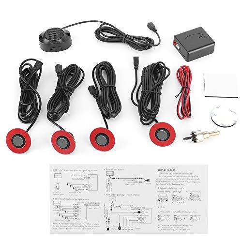 Qiilu Kit de radar de recul de voiture de 16,5 mm, assistance de recul de capteur de radar de recul intégré avec kit auxiliaire de sonnerie audio(Gray)
