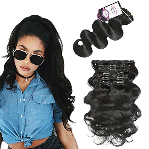 "Urbeauty 12"" Short Wavy Clip in Human Hair Extensions Jet Black 7Pcs/70g Full Head Body Wave Remy Clip in Virgin Hair Extensions Triple Weft"