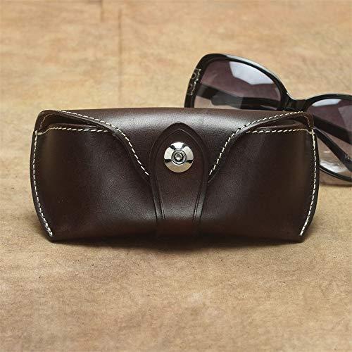 Funda de almacenamiento para gafas, unisex, de piel, portátil, ligera, protectora, diseño vintage, se adapta a la mayoría de gafas de sol y gafas de sol de tamaño estándar, unisex