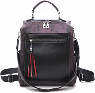 Fashion PU Large Capacity Backpack Zip Personality Retro Daypacks (Color : Purple, Size : 26 * 14 * 30cm)