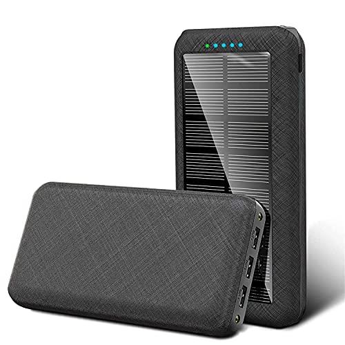 Teléfono Power Bank Fast Qi CARGER INALÁMBRICO, 20000mAh Banco de energía Solar PD USB Power Bank Powerbank con Panel Solar para teléfono 12 Salidas seguras para iPad (Color : Black)