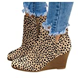 NOLDARES Platform Boots Ankle Zip Up Wedge High Heel Boots Leopard Ladies Round Toe Platform Boots for Women