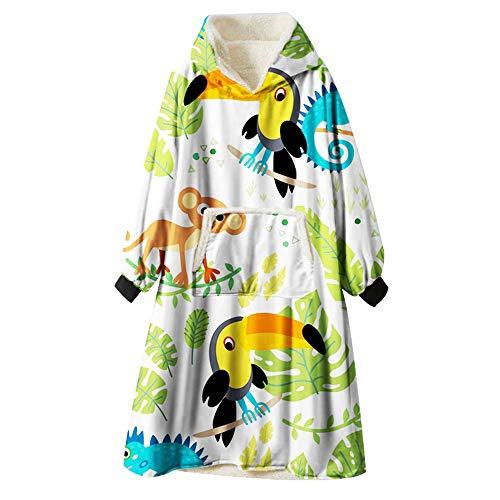 Kapuzenpullover Decke, Ouduo Cartoons Tier Drucken Übergroße Sherpa Hoodie Weiche Warme Riesen Sweatshirt Blanket Fronttasche Plüsch Pullover Decke mit Kapuze (Tukan,One Size)