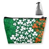Diseño de San Patricio Bandera Irlandesa Bolsa de Maquillaje Grande Bolsa de Aseo para Mujer Bolsa de cosméticos