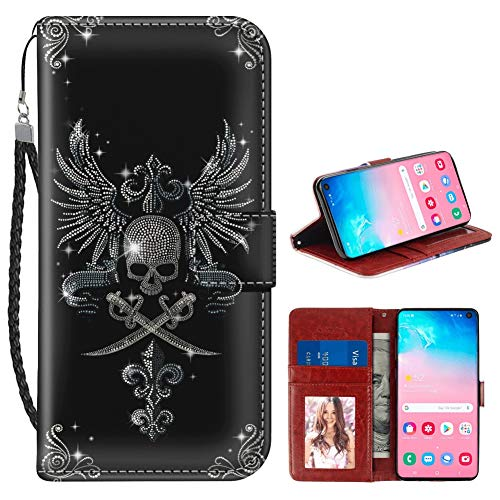 Samsung Galaxy S10 Wallet Case Skull Angel's Wings Cross Bayonet Pattern Protective PU Leather Flip Cover with Credit Card Slots and Side Cash Pocket+Magnetic Clasp Closure for Women Girl.