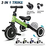 XJD 3 in 1 Kids Tricycles for 1-3 Years Old Kids Trike 3 Wheel Bike Boys Girls 3 Wheels Toddler Tricycles Toddler Bike Trike Upgrade 2.0 (Green)