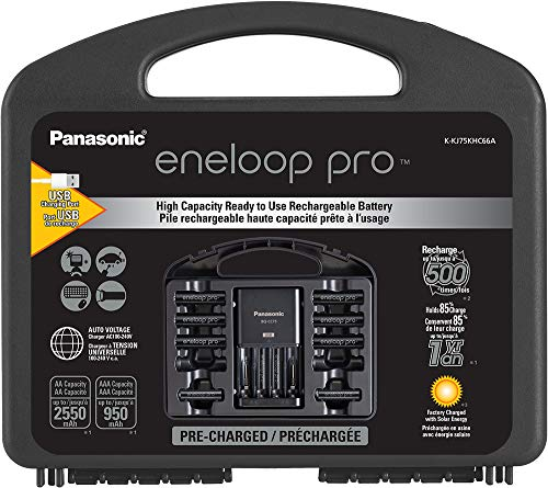 Eneloop Panasonic K-KJ75KHC66A eneloop pro High Capacity Rechargeable Batteries Power Pack 6AA, 6AAA, Advanced Battery Charger with USB Charging Port and Plastic Storage Case