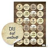 Logbuch-Verlag 24 Aufkleber MOTIVATION Sprüche Weisheiten Statements vintage natur Kraftpapier Look rund 4 cm