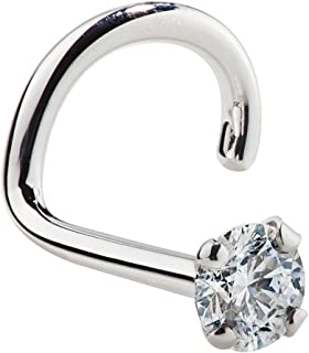FreshTrends Genuine Diamond Nose Stud 14K White Gold Nose Ring Twist Screw 18 Gauge, I1 Clarity