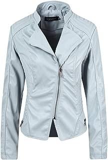 FYXKGLa Ladies Fashion Leather Jacket Slim Short Jacket Motorcycle Leather Jacket Lapel Retro Leather Jacket (Color : Blue, Size : M)