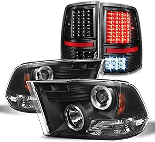 For 2009-2019 Dodge Ram 1500 2500 3500 Black Halo Projector Headlights Pair + Black LED Tail Lights Left+Right Combo