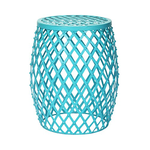 Adeco Hatched Diamond Pattern Iron Stool, Sky Blue Round Nesting Tables, Light