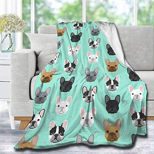 Lynnezilla French Bulldog Funny Cute Dog Head Dog Throw Blanket Ultra Soft Blankets Durable Home Decor Perfect for Couch Sofa Bed Decor Gift Idea L - Large 80X60 in for Adults