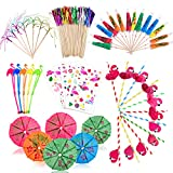 FORMIZON Decoraciones de Fiesta de Cócteles, Palillos de Papel de Paraguas, Palos de Fuegos Artificiales de Papel Aluminio, Pajitas para Bebidas, Palillo de Cóctel Flamingo para Verano Fiesta