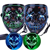 Dreamworldeu 2 Pack LED Maske Halloween Purge Maske Cosplay Leuchten Maske mit 3 Blitzmodi EL Wire...