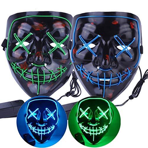 Dreamworldeu 2 Pack LED Maske Halloween Purge Maske Cosplay Leuchten Maske mit 3 Blitzmodi EL Wire für Halloween Fasching Karneval Party