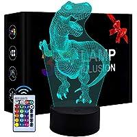 Regalo de cumpleaños para niñas niños, lámpara LED 3D Regulable Luz Nocturna para niños Juguete para niños Edad 3 4 5 6 Niños pequeños Dinosaurio Luz Nocturna Regalo para niños de 5-9 años Niño