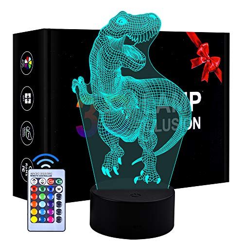 Eala Kids Dinosaur Night Light for Boys Girls, Birthday Gift for 3-8 Year Old Kids Boys Dimmable 3D LED Lamp Nightlight Toys for 3-10 Year Old Boys Childrens Decor Lamp Gift Age 3 4 5 6 7 8 Boys