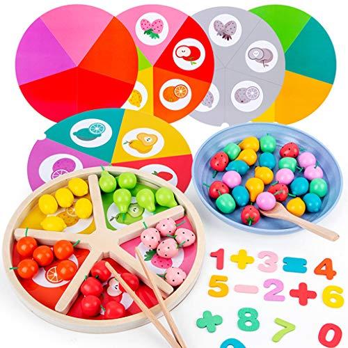 Obstsortiertablett aus Holz, frühkindliches Lernspielzeug, kognitive Farbe, zur Verwendung