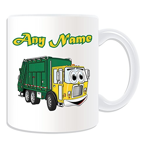Personalisierter Geschenk-Tasse Smiley Müllauto Verkehr (Design-Design, weiß, Abfalleimer Mülleimer Dustcart Mülleimer fürs Recycling LKW, Van Müllabfuhr Fahrzeug Kombi-LKW-Fahrer Abfall Papierkorb Mülltrennung Dusbin verweigern Kollektion Recycling