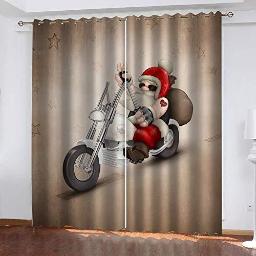 DILITECK Cortinas Opacas Cortinas Dibujos Animados Santa Claus Motos Gafas De Sol 280X300Cm Moderno Blackout Curtain Cortina Opaca Suave Para Ventanas De Habitación Juvenil Con Ojales Estar Niño Tamañ