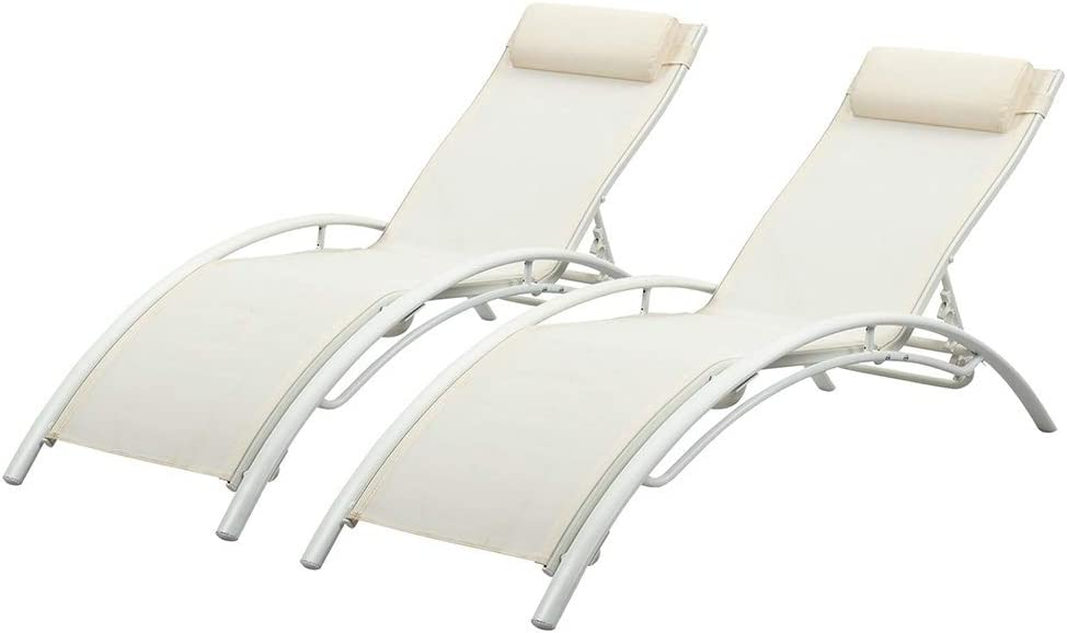 DOIT NEW before selling Patio Lounge Chairs Set of New product!! Adjustable Reclining Pool 2 Loun