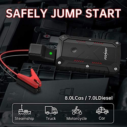 FCONEGY Avviatore Batteria Auto 2200A 25000mAh Avviatore di Emergenza per Motori Fino a 8.0L Benzina/ 7.0L Diesel con Accendisigari EC5, Doppio Porta Ricarica Veloce, Torcia a LED