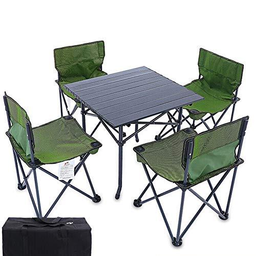 xy Klapptisch- Outdoor Klapptisch Und Stuhl Set Angeln Stuhl Hocker Portable Picknicktisch Stuhl 1 Tisch 4 Stühle (Farbe : Aluminum Table+Chairs)