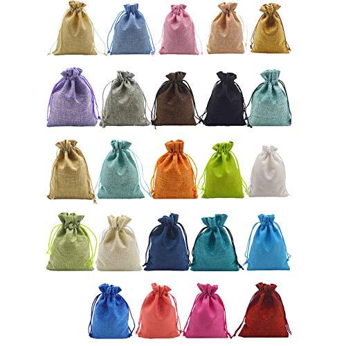 Comius Sharp Weihnachts Adventskalender 24 Tage hängen Kordelzug Candy Bags mit Aufklebern Handgefertigte DIY-Säcke Wiederverwendbar, Hochzeitsfeier Geschenkbox Candy Box