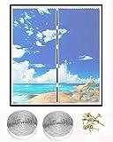 OOTSR Fliegengitter Fenster Magnet Fenster Insektenschutz 130x150cm Magnet Fenstervorhang für Balkontür Wohnzimmer Schiebefenster Dachfenster