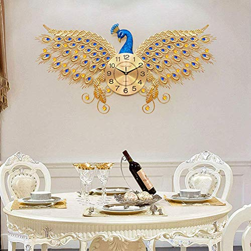 ZHIRCEKE Three-dimensional peacock wall clock crystal wall clock decoration European living room watch creative silent clock art decoration wall clock (100x50cm)
