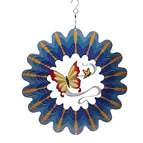 Moligh doll Wind Spinner Rostfreier Stahl 3D HHNgende Garten Dekoration für Drinnen DrauuEn Blau Schmetterling Metall Wind Spinner-12 Zoll