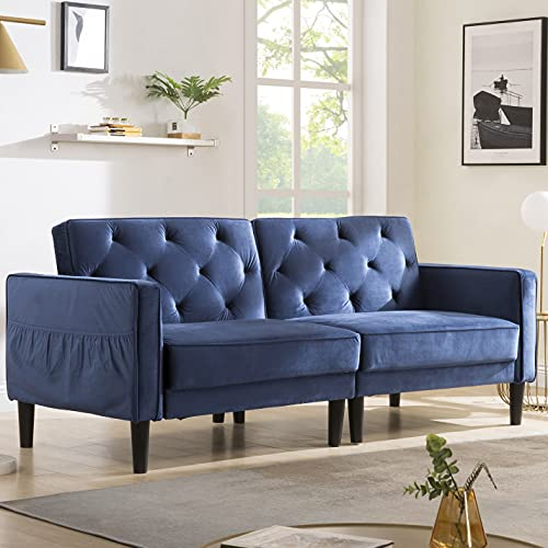 Modern Sofa Bed, 3 Seater Velvet Sofa Bed Couches,Sofa size: 203 * 81 * 84cm, Bed size: 203 * 100 * 47cm Blue
