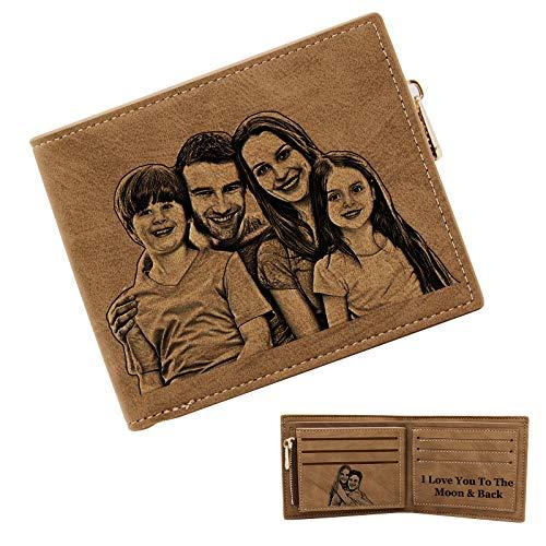 ABIsedrin Personalisiert Foto Geldbörse,Geldbörse Herren Leder,Gravierte Brieftasche Mit Münzfach,Minimalistisch Bifold Geldbörse