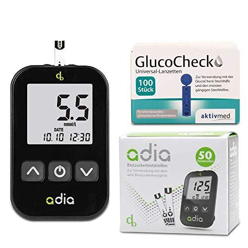 adia Vorteilspack Blutzuckermessgerät-Set (mmol) + 60 Blutzuckerteststreifen + 110 Lanzetten zur Kontrolle des Blutzuckers