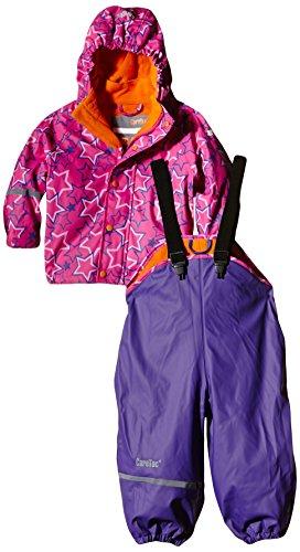 CareTec Kinder wasserdichte Regenlatzhose und -jacke im Set (verschiedene Farben), Mehrfarbig (Purple 633), 80