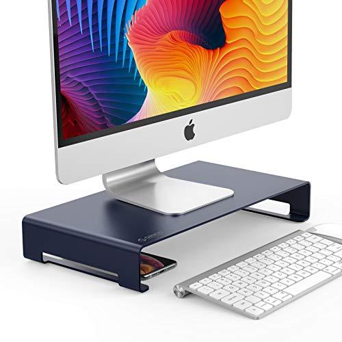 ORICO Aluminium Monitorständer Unibody Computer Riser mit Speicherplatz Organizer für Keyboard & Mouse für iMac/MacBook/Laptop/PC Ständer (Grau, Größe:15.7*8.3*1.8inch)