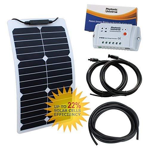 Flexibles Solarmodul Solarpanel Flexible 100W 12V Volt Mono Backcontact schwarz