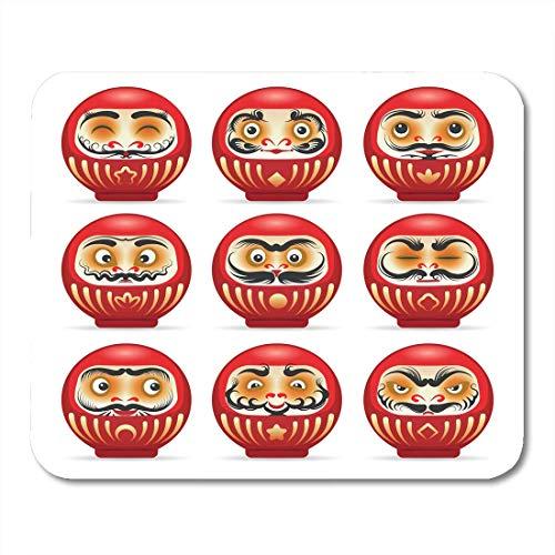 Mauspads Schwarz Gut Rot Daruma Puppen aus Japan Weiß Dharma Mauspad für Notebooks, Desktop-Computer Matten Büromaterial