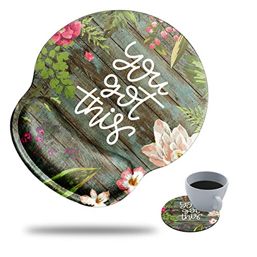 Gaming Mouse Pad with Wrist Support, Spsun Flower You got This Floral Pattern Custom Design Cute Mousepad,Pain Relief Wrist Mouse Pads for Computer Laptop Home Office, with Coasters and Stickers