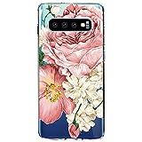 Coque de protection en silicone souple pour Samsung Galaxy S10 - Motif floral - Anti-chocs -...