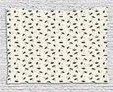 ABAKUHAUS Lluvia Tapiz de Pared, Las Gotitas Línea Discontinua, para el Dormitorio Apto Lavadora y Secadora Estampado Digital, 150 x 100 cm, Negro Y Gris Amarillento