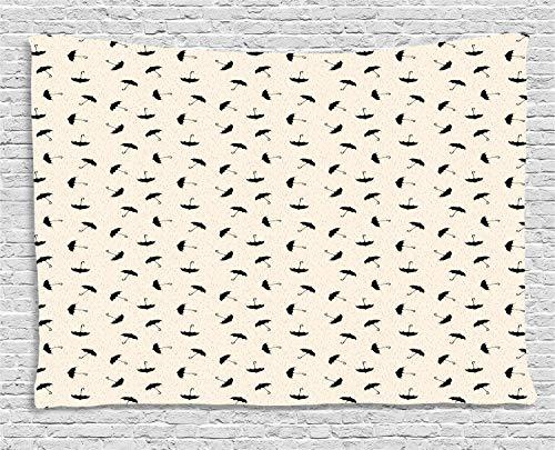 ABAKUHAUS Lluvia Tapiz de Pared, Las Gotitas Línea Discontinua, para el Dormitorio Apto Lavadora y Secadora Estampado Digital, 200 x 150 cm, Negro Y Gris Amarillento