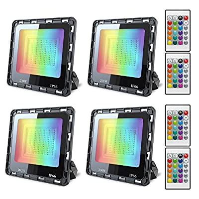 4 Pack 200W RGB Flood Light Color Changing LED Flood Light with Remote IP66 Waterproof Outdooor Floodlight Dimmable Strobe Uplighting Indoor for Stage, Party, Wall Wash, Landscape, Garden