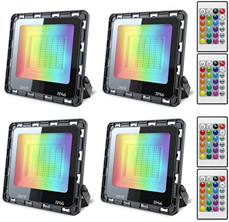 4 Pack 200W RGB Flood Light Color Changing LED Flood Light with Remote IP66 Waterproof Outdooor product image