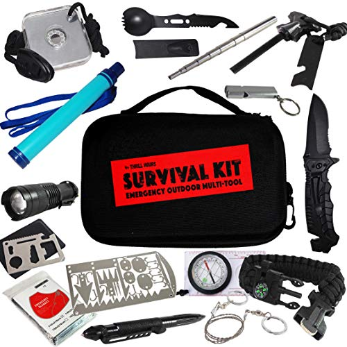 Survival Kit Outdoor Camping Water Filter Straw Gift Idea Gadget For Men Husband Scout Families Beginner Professional 45-IN-1 by THRILLHOURS WATER RESISTANT HARDSHELL FOOLPROOF for funfilled Adventure