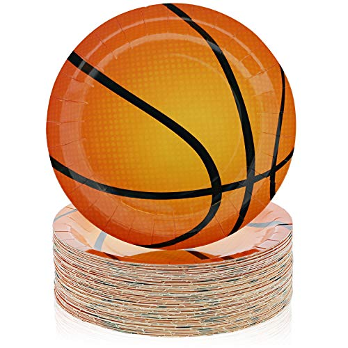 Platos de baloncesto de papel, suministros de fiesta para el día del juego (9 en 80 unidades)