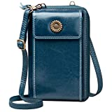 WACCET Genuine Leather Ladies Purse Large Capacity RFID Blocking Cellphone Crossbody Wallet Purse with 15 Card Slots, Women Crossbody Phone Bag with Shoulder Strap & Wristlet